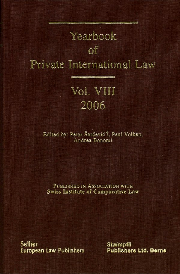 Yearbook On Private International Law, Vol  VIII | ISDC