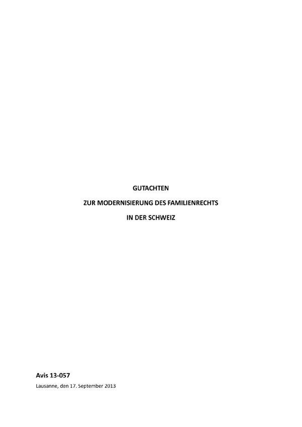 Gutachten Zur Modernisierung Des Familienrechts In Der Schweiz Isdc